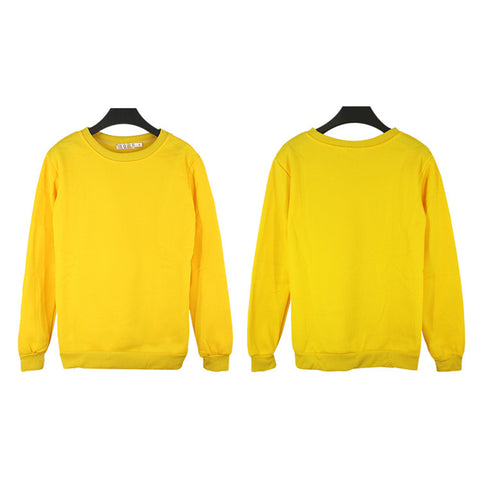 Unisex Crewneck Fleece Sweatshirt Plain Pullover Crew Neck Jumper Yellow 4XL