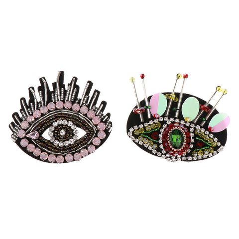 Image of 2 Pieces Beaded Rhinestone Patch Sew on Eye Motif Applique DIY Clothes Decor