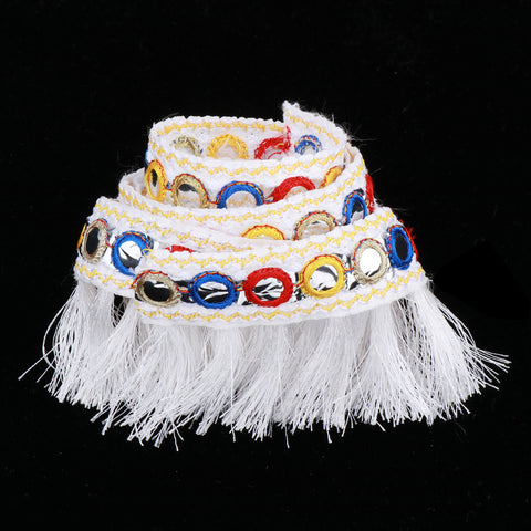 1 Yard Jacquard Ribbon Tassel Trim for Curtain Cushion Home Decoration 2.5cm