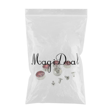 5 Sets Crystal Rapid Rivets Punk Nailhead Studs for Clothes Decor Red