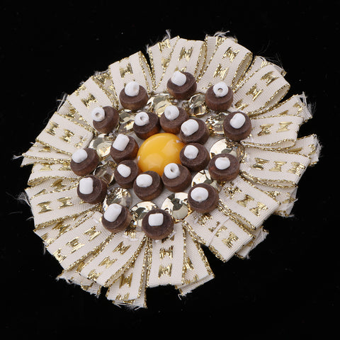 1 Piece Bead Flower Patches for DIY Sewing Crafts Supplies White 1