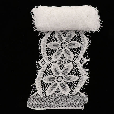 3 Yards Flower Lace Trim Ribbon for DIY Wedding Dress Clothes Decor Black B White B
