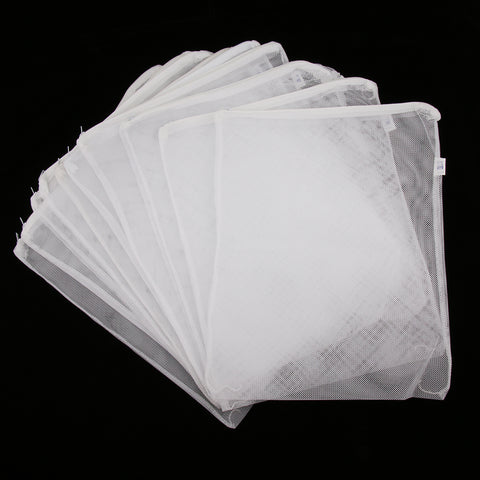 10 Pcs Zipped Fish Tank Filter Material Mesh Bag Isolation Bag 41x33cm White