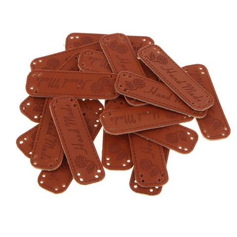 20pcs PU Leather Tag DIY Handmade Sew Label Patches Flowers Pattern