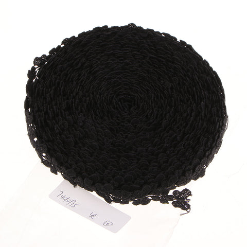 15 Yards Flower Lace Trim Ribbon for Wedding Dress Clothes Decor Black E