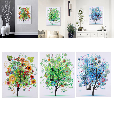 Treer-shaped DIY 5D Diamond Paiting Cross Stitch Kit for Arts Craft Colorful