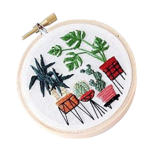 Stamped Embroidery Kit with Pattern Cross Stitch Crafts - Pot Plant EC006