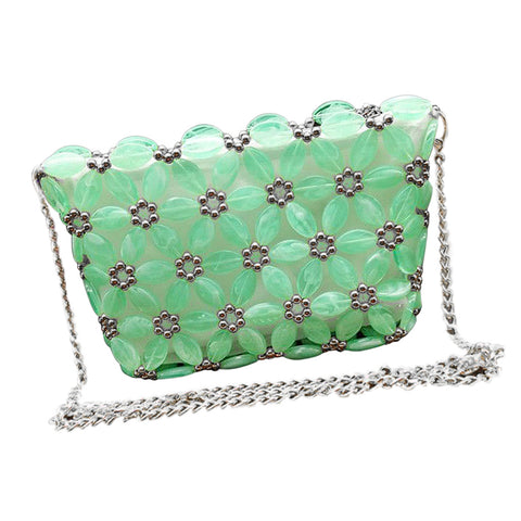 DIY Art& Crafts Acrylic Beaded Bag Kits Crossbody Bag Making Supplies Tools Green