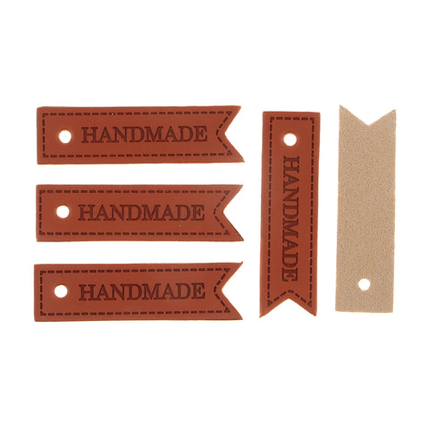 20x PU Leather Label Embossed Tag with Hole Sew on Patch Accessory HANDMADE