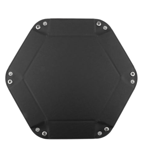 Dice Folding Hexagon Tray PU Leather Dice Rolling Tray for DND Game Black