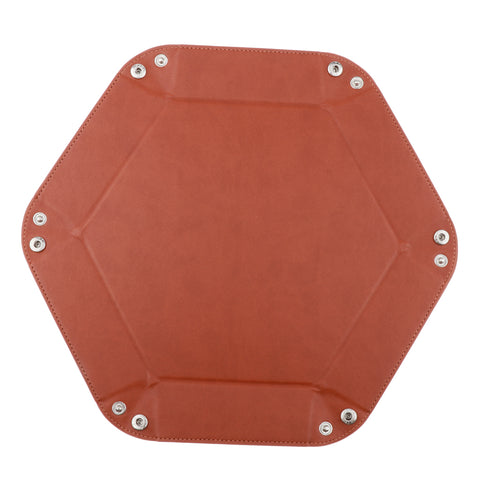 Dice Folding Hexagon Tray PU Leather Dice Rolling Tray for DND Game Brown