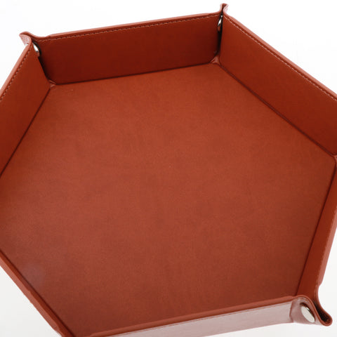 Image of Dice Folding Hexagon Tray PU Leather Dice Rolling Tray for DND Game Brown