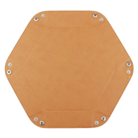 Image of Dice Folding Hexagon Tray PU Leather Dice Rolling Tray for DND Game Yellow
