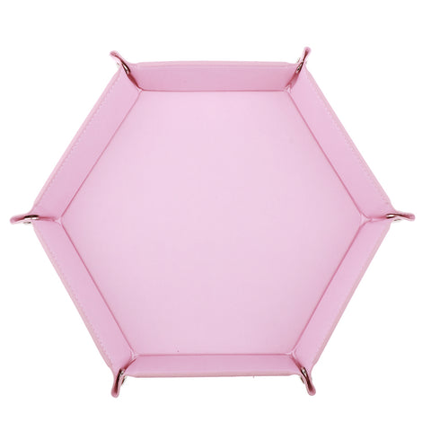 Image of Dice Folding Hexagon Tray PU Leather Dice Rolling Tray for DND Game Pink