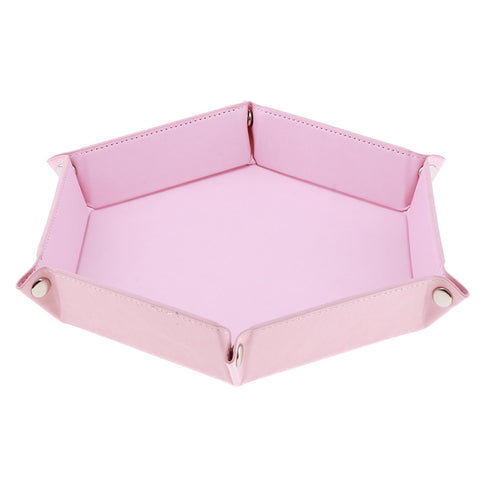 Dice Folding Hexagon Tray PU Leather Dice Rolling Tray for DND Game Pink