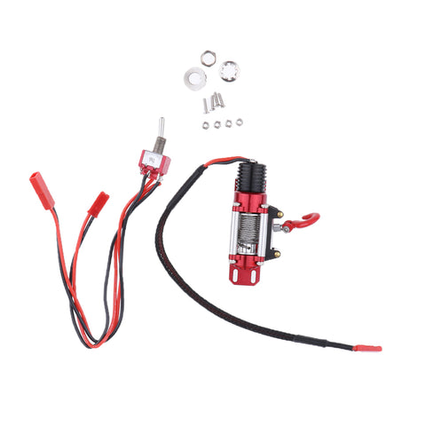 Steel Wired Automatic Winch for 1/10 RC Rock Crawler SCX10 Red DIY Accessory