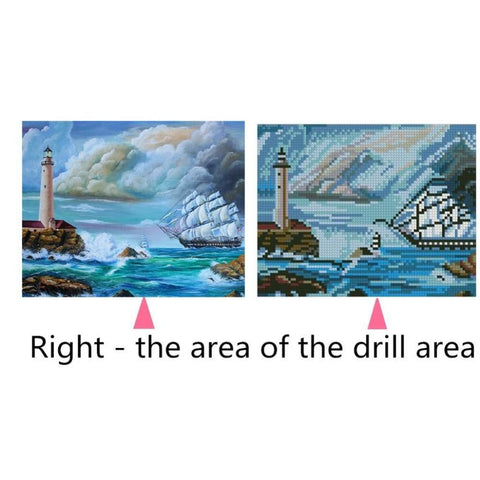 Full Drill 5D Diamond Painting Cross Stitch Kit Home Decor Sea Ship