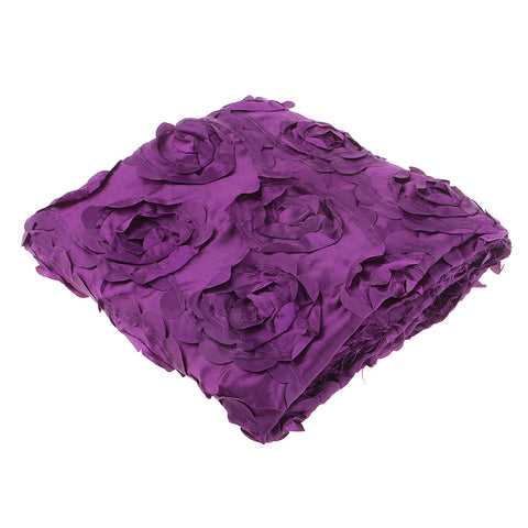 3D Rose Satin Fabric Bridal Dress Wedding Party Backdrop Decor Purple