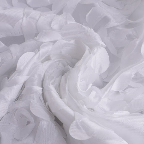 3D Rose Satin Fabric Bridal Dress Wedding Party Backdrop Decor White