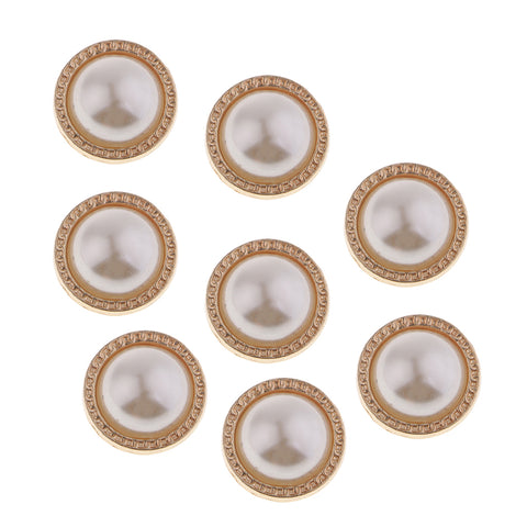 8Pcs Plastic Pearl Buttons Round Sewing Crafts for Clothes Shoes Hat Gold