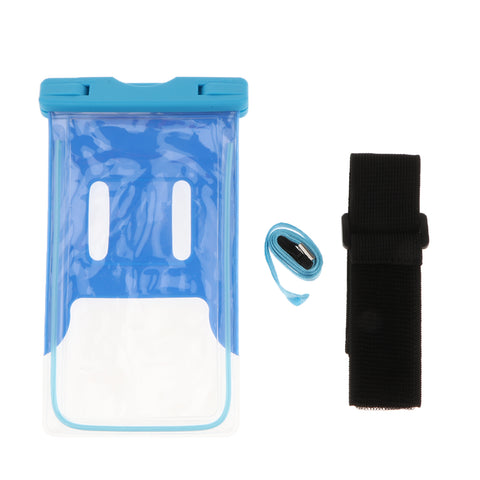 Universal Waterproof Phone Pouch Underwater Protective Dry Bag Case Blue