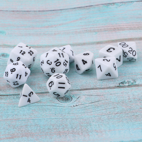 Multi-sided Dice D&D Dice Game Polyhedral Dice D4-D30 for Table Game white