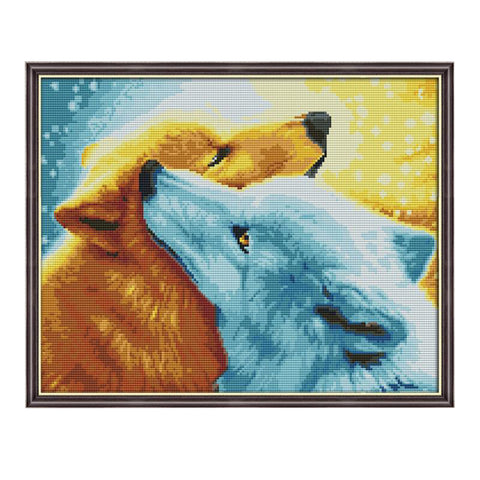 Two Wolf Counnted Cross Stitch Kit Sewing Needlepoints Kit 50 x 41cm 11CT