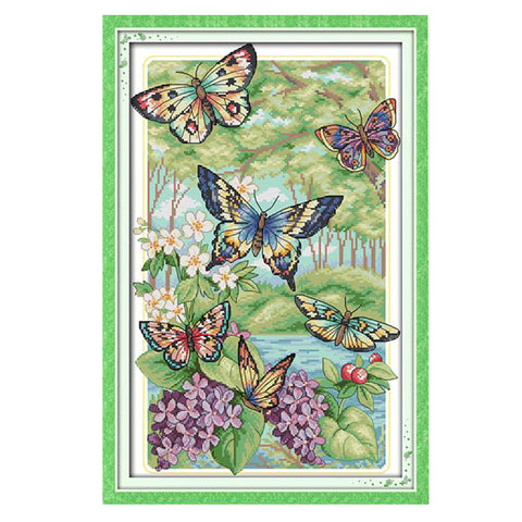 Butterfly Cross Stitch Kit Pre-printed Design Works  32 x 47cm 14CT Stamped