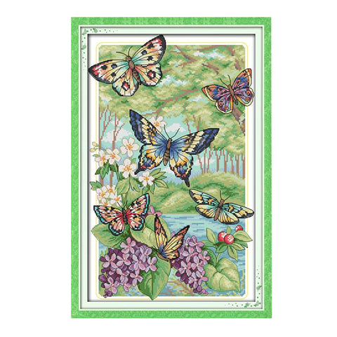 Butterfly Cross Stitch Kit Pre-printed Design Works  32 x 47cm 14CT Counted