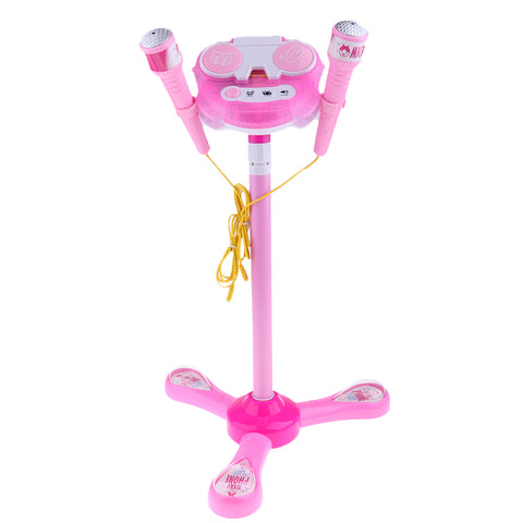 Kids Karaoke Machine with 2 Microphones & Adjustable Stand Music Sing  Pink