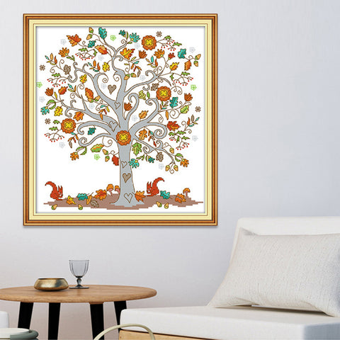 The Tree of Love Stamped Cross Stitch Kit DIY Needlework Craft 11CT 38x41cm