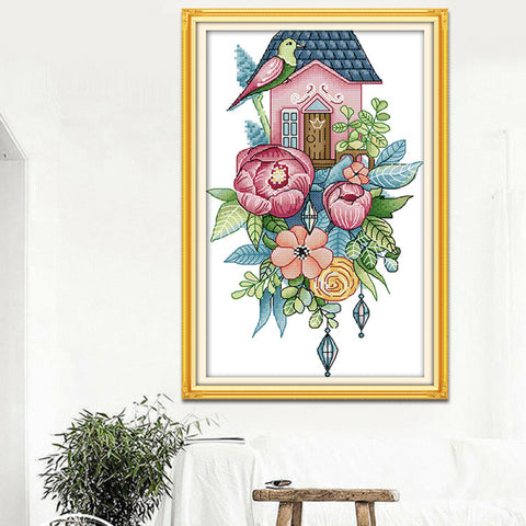 Chinese Pre-printed Flowers Bird Cross Stitch Kit Painting 25 x 42cm 11CT