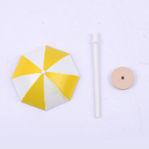 DIY Handcrafted Dollhouse Beach Miniature Umbrella Sunshade Models Yellow+S