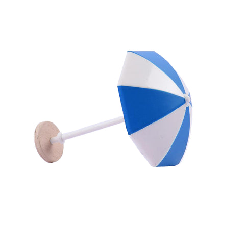 Image of DIY Handcrafted Dollhouse Beach Miniature Umbrella Sunshade Models Blue+S