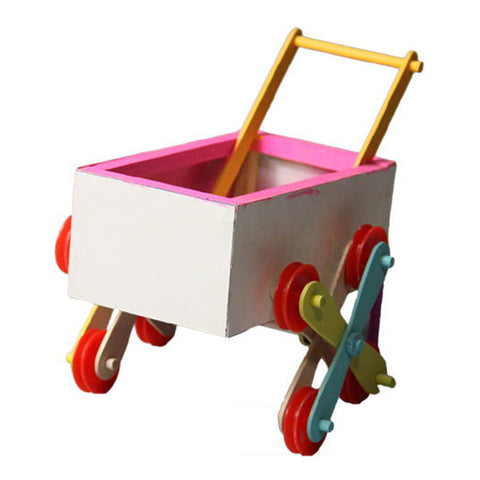 DIY Kids Educational Toy Stairs Pushcart Science Physics Experiments Model