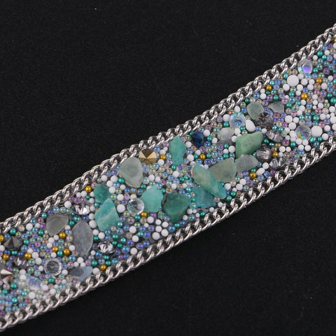 20mm Cystal Rhinestone Ribbon DIY Sewing Crafts for Dress Bag Blue + Silver