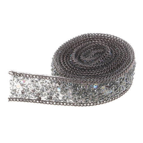 20mm Cystal Rhinestone Ribbon DIY Sewing Crafts for Dress Bag Gray