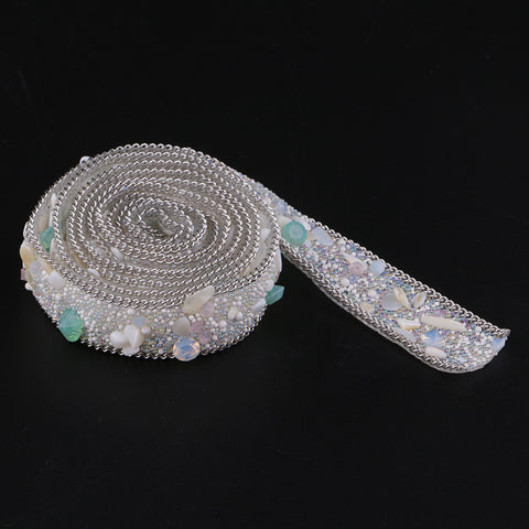 20mm Cystal Rhinestone Ribbon DIY Sewing Crafts for Dress Bag White + Silver