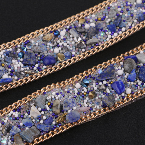 20mm Cystal Rhinestone Ribbon DIY Sewing Crafts for Dress Bag Blue + Gold