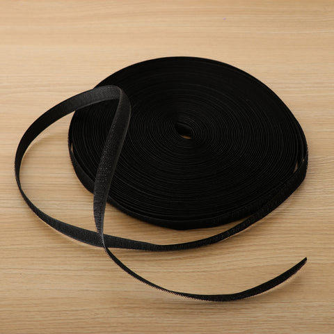 25m x Roll Hook Fastener Fastening Tape Self Adhesive Tie, Black, 1.6cm