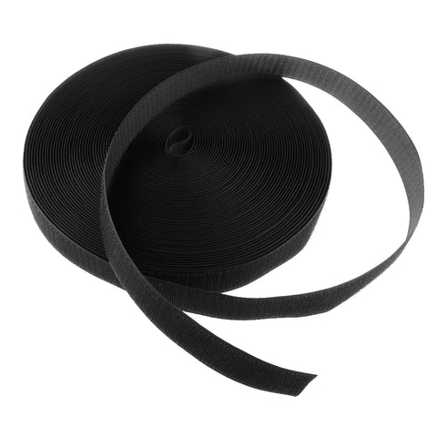 25m x Roll Hook Fastener Fastening Tape Self Adhesive Tie, Black, 3cm