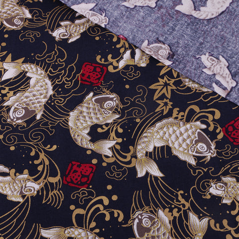 1 Piece 2 x 1.5 m Printed Cotton Fabric for DIY Sewing Craft Black Carp