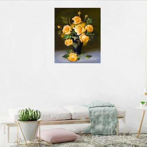 DIY 5D Diamond Painting Flower/Horse Pictures for Home Decor Yellow Flower