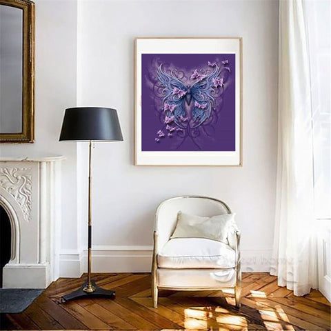 Full Drill Diamond Painting Animal Pictures for Home Decor Purple Butterfly