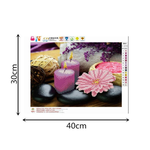 Image of DIY 5D Diamond Painting Embroidery Cross Stitch for Home Decor Candle Flower