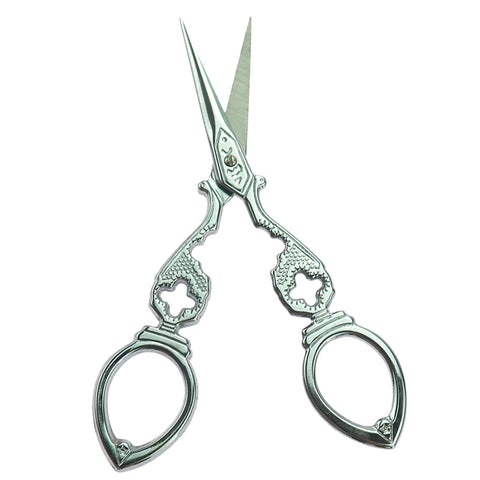 Image of Vintage Gourd Shape Embroidery Scissor Steel Tailor Sewing Scissor Silver