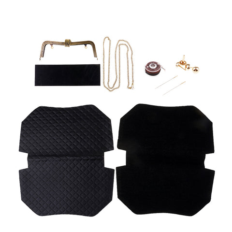 DIY Handmade Sewing Project Kits For Women Bag Handbags Making Black Leather