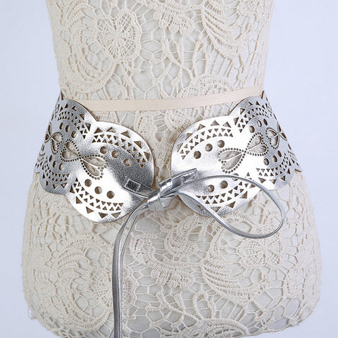 Retro Steampunk Hollow Leather Girdle Wide Corset Waist Belt Silver