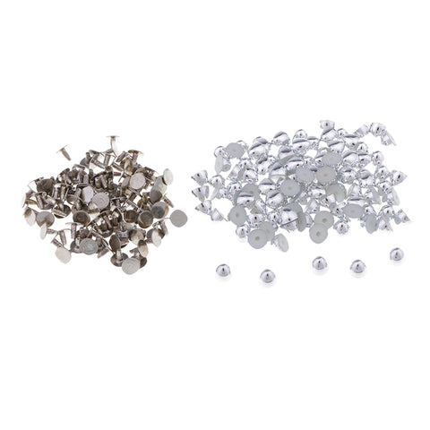 100 Sets/Pack Plastic Dome Punk Style Rivet for Clothing Decoration Gold