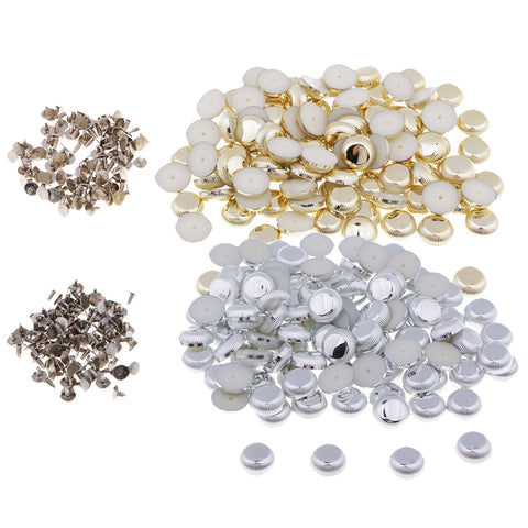 100 Sets Plastic Punk Style Studs Rivets Press Pins Leather Crafts Silver